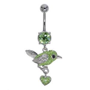 Piercing nombril Acier chirurgical 316L Laiton rhodié Cristal Coeur C?ur Amour Aigle Oiseau Cigogne Aile