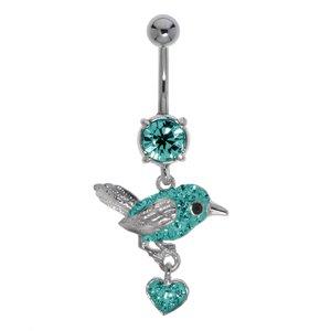 Bauchpiercing Chirurgenstahl 316L Messing rhodiniert Kristall Herz Liebe Adler Vogel Storch Flügel