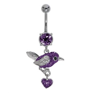 Bellypiercing Surgical Steel 316L Rhodium plated brass Crystal Heart Love Eagle Bird Stork Wings