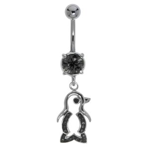 Bellypiercing Surgical Steel 316L Rhodium plated brass Crystal Penguin