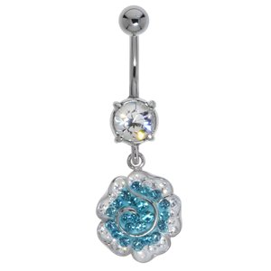 Bellypiercing Surgical Steel 316L Rhodium plated brass Crystal Flower