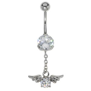 Bellypiercing Surgical Steel 316L zirconia Wings