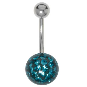 Bellypiercing Surgical Steel 316L Crystal Epoxy