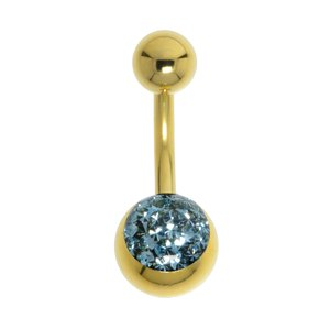 Piercing ventre Metallo chirurgico 316L Cristallo Swarovski Resina epossidica Rivestimento PVD (colore oro)