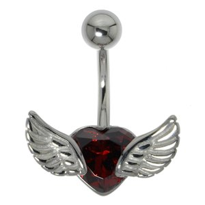 Bellypiercing Surgical Steel 316L zirconia Heart Love Wings
