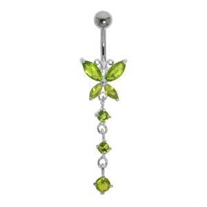 Bellypiercing Surgical Steel 316L Silver 925 Crystal Butterfly