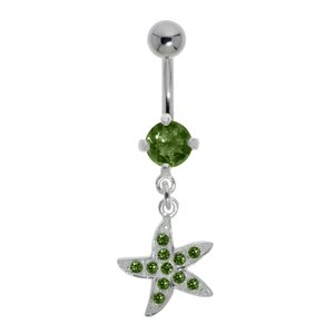 Bellypiercing Surgical Steel 316L Silver 925 Crystal Starfish