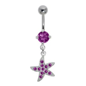 Piercing de ombligo Acero quirúrgico Plata 925 Cristal Estrella_de_mar