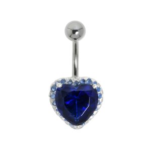 navelpiercing Chirurgisch staal 316L Zilver 925 Kristal hart liefde