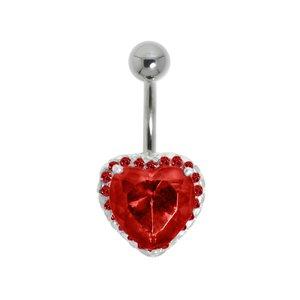 Piercing nombril Acier chirurgical 316L Argent 925 Cristal Coeur C?ur Amour