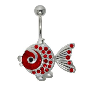 Bellypiercing Surgical Steel 316L Silver 925 Crystal Fish