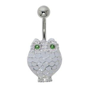 Bauchpiercing Chirurgenstahl 316L Silber 925 Epoxiharz Kristall Eule Uhu