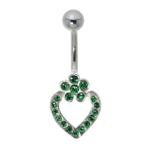 Bellypiercing Surgical Steel 316L Silver 925 Crystal Heart Love Flower