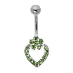 Piercing de ombligo Acero quirúrgico Plata 925 Cristal Corazón Amor Flor