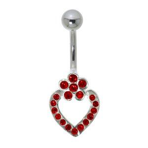 navelpiercing Chirurgisch staal 316L Zilver 925 Kristal hart liefde bloem