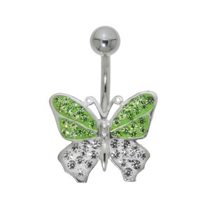 navelpiercing Chirurgisch staal 316L Zilver 925 Kristal vlinder