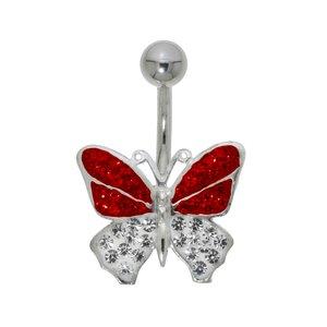 Piercing nombril Acier chirurgical 316L Argent 925 Cristal Papillon