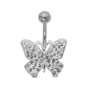 Piercing de ombligo Acero quirúrgico Plata 925 Cristal Mariposa