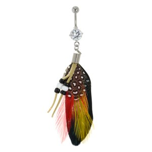 Bellypiercing Surgical Steel 316L Rhodium plated brass Crystal Duck feathers Synthetic leather Plastic Feather