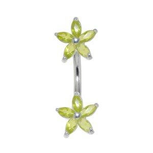 Piercing de ombligo Acero quirúrgico Plata 925 Circonita Flor