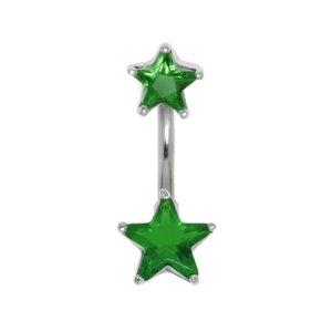 Piercing nombril Acier chirurgical 316L Argent 925 Cristal Étoile