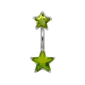 Piercing de ombligo Acero quirúrgico Plata 925 Cristal Estrella