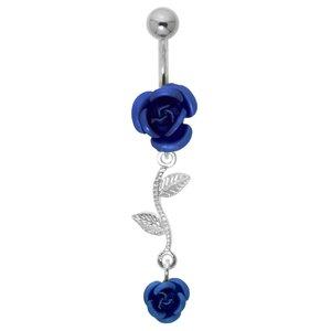 Piercing de ombligo Acero quirúrgico Plata 925 Rosa Flor Hoja Diseño_floral