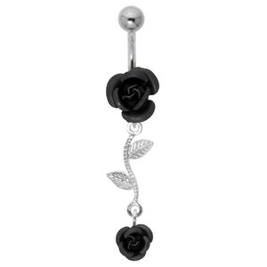 Bellypiercing Surgical Steel 316L Silver 925 Rose Flower Leaf Plant_pattern
