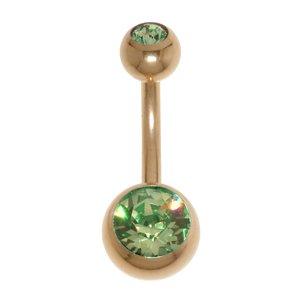 navelpiercing Chirurgisch staal 316L PVD laag (goudkleurig) Swarovski kristal