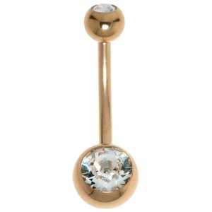 Piercing de ombligo Acero quirúrgico Revestimiento PVD (color oro) cristales de Swarovski
