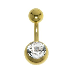 Bellypiercing Surgical Steel 316L PVD-coating (gold color) Swarovski crystal
