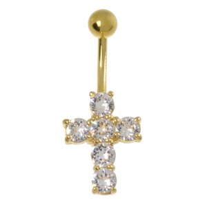 Bellypiercing Rhodium plated brass Swarovski crystal PVD-coating (gold color) Cross