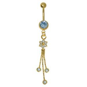 Piercing de ombligo Acero quirúrgico Cristal Revestimiento PVD (color oro) Flor