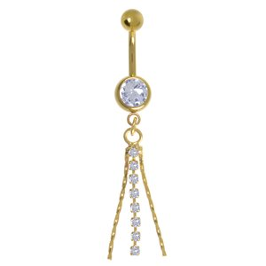 Bellypiercing Surgical Steel 316L Crystal PVD-coating (gold color)