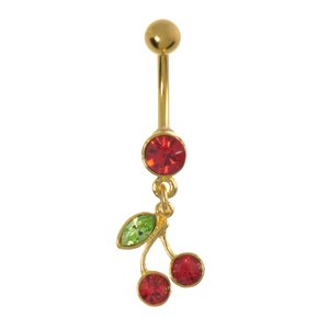 Bellypiercing Surgical Steel 316L  Crystal PVD-coating (gold color) Cherry