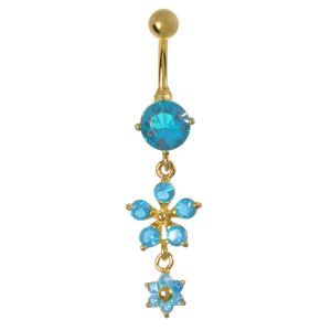 Bellypiercing Surgical Steel 316L zirconia PVD-coating (gold color) Flower Star