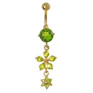 Piercing de ombligo Acero quirúrgico Circonita Revestimiento PVD (color oro) Flor Estrella