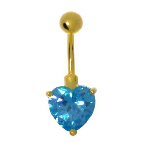 Bellypiercing Rhodium plated brass zirconia PVD-coating (gold color) Heart Love