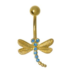 Bauchpiercing Messing rhodiniert Kristall PVD Beschichtung (goldfarbig) Libelle