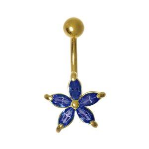 Bauchpiercing Messing rhodiniert Kristall PVD Beschichtung (goldfarbig) Blume