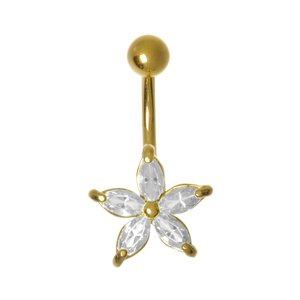 Bellypiercing Rhodium plated brass zirconia PVD-coating (gold color) Flower