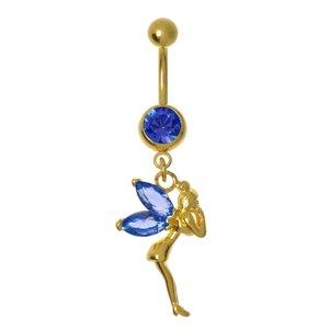 Piercing de ombligo Acero quirúrgico cristales de Swarovski Revestimiento PVD (color oro) Hada