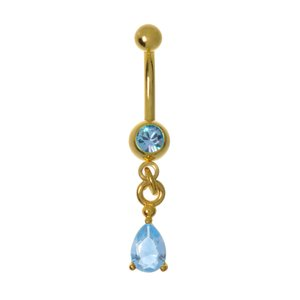 Bellypiercing Surgical Steel 316L Swarovski crystal PVD-coating (gold color) Drop drop-shape waterdrop