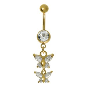 Bellypiercing Surgical Steel 316L zirconia PVD-coating (gold color) Butterfly