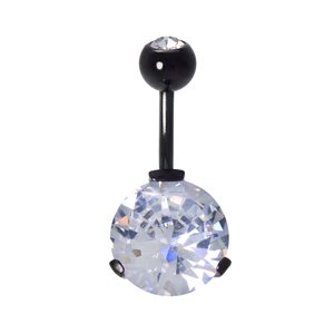 Bellypiercing Surgical Steel 316L Black PVD-coating zirconia Crystal