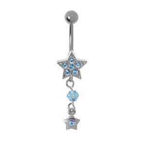 Bellypiercing Surgical Steel 316L Rhodium plated brass Crystal Star