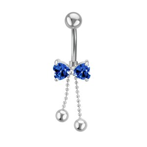 Bellypiercing Surgical Steel 316L Rhodium plated brass zirconia Ribbon Bow Hair_bow