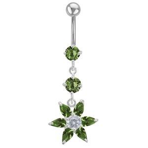 Bellypiercing Surgical Steel 316L Silver 925 zirconia Flower
