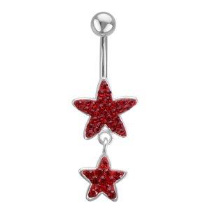 Piercing nombril Acier chirurgical 316L Cristal Étoile