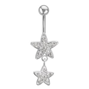 Bellypiercing Surgical Steel 316L Crystal Star